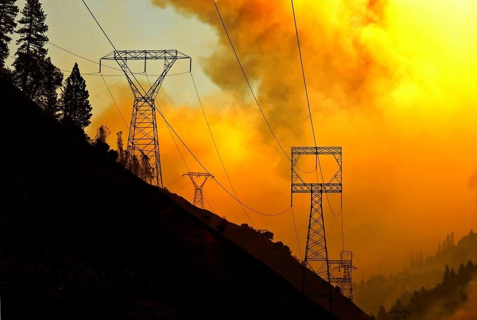 Power lines burning california